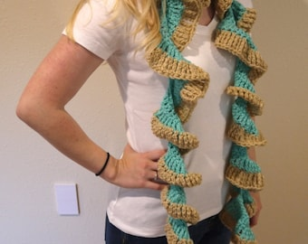 Crocheted Baby Blue and Beige Twisted Scarf