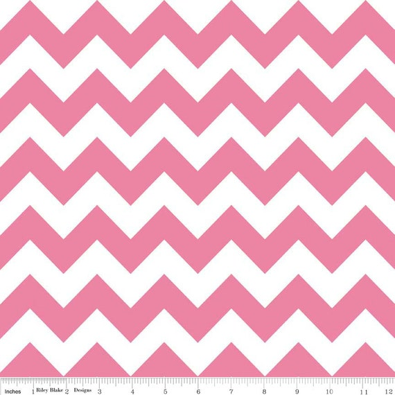 Pink Medium Chevron Riley Blake cotton fabric - 1 yard cut