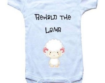 Baby One-Piece Bodysuit-Personalized Gifts-Christian Baby Gifts- Behold The Lamb- WHITE LAMB - White, Blue or Pink
