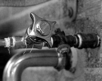 Retro Old School Water Drinking Fountain Bubbler in Black and White Fine Art Photo Print Home Wall Decor by Rose Clearfield on Etsy