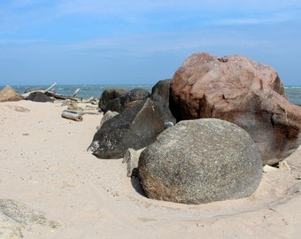 Lake Michigan Beach Large Rocks Blue Water Waves Sunny Day Fine Art Photo Print Home Wall Decor by Rose Clearfield on Etsy