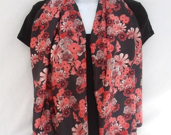 "Pink floral silk scarf, 100% pure silk, ladies scarf, 20"" x 54"" (50 x 136cm), pink floral maze digital print design"