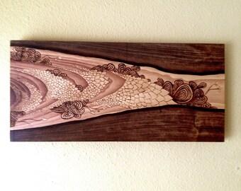 """Flow - Original wood wall art 24"""" x 12"""""""