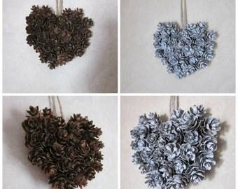 Mini Pinecone Heart Ornament, Natural Hemlock Wall Decor, Wedding Gift Topper, Valentine Message