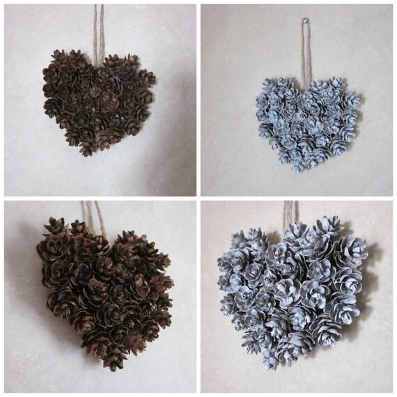 Mini pinecone heart ornament natural hemlock wall decor - Pommes de pins decoration ...