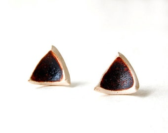Triangle Earrings, Stud Earrings, Brown Earrings, Post Earrings, Geometric Jewelry, Ceramic Earrings, Natural, Holiday Gift, Silver 925