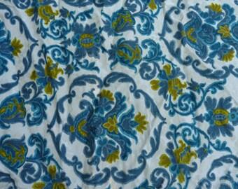 CURTAIN fabrics VINTAGE 1960, Paisley turquoise and green colors on bottom ecru Velvet