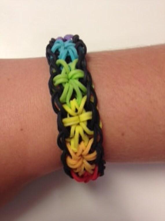 rainbow loom starburst rubber band bracelet