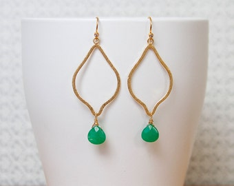 Textured Gold Vermeil Earrings with Faceted Green Onyx.