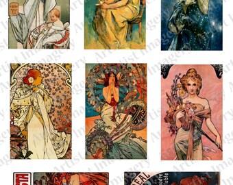Deco Nouveau Alphonse MUCHA digital Collage Sheet Art Paintings Instant Download 2.25 x 3.5