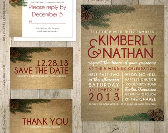 Pinecone Wedding Invitation, Save the Date, RSVP, Thank You Card, Custom, Suite