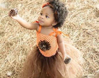 Orange and Brown Tutu Dress, Fall Tutu Dress, Autumn Tutu Dress