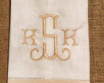 Monogrammed Linen Handtowel, Personalized hemstitch hand towel, monogrammed tea towel, gray or tan border, tea towel, embroidered hand towel