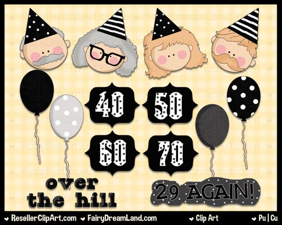 50th birthday clip art over the hill