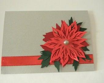 Handmade Poinsetta Holiday Card