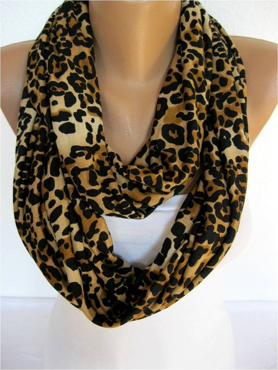 on sale leopard scarf infinity scarf shawl circle by