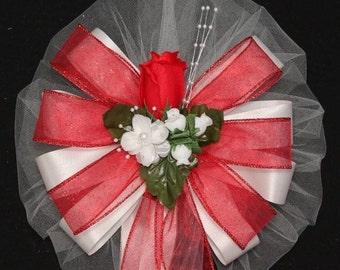 Red Rosebud Sparkle Wedding Pew Bows - Church Pew Decorations, Wedding Aisle Decorations, Wedding Ceremony Bow, Wedding Chair Bows