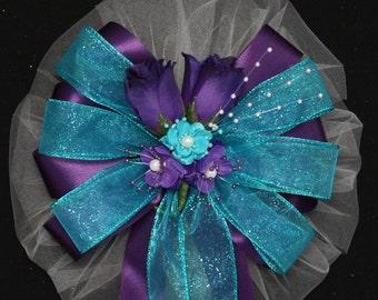 purple rosebuds turquoise wedding pew bow church aisle decorations purple wedding bows