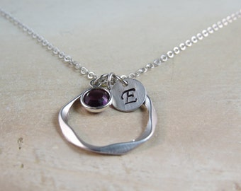 silver infinity circle necklace, personalized necklace, charm necklace, initial necklace, birthstone necklace