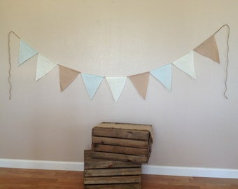 Rustic Pennant Flag Fabric Banner