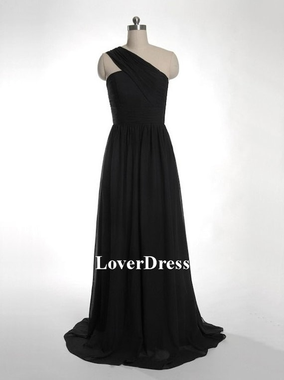 Black Bridesmaid Dresses, Bridesmaid Dresses One Shoulder, Chiffon Long Bridesmaid Dress