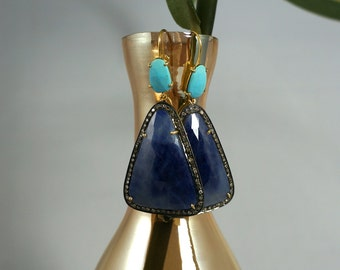 Turquise & Blue Sapphaire Diamond Earrings - Handmade with 92.5 Sterling Silver and 14K Gold
