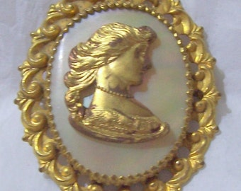 Goldtone and Mother Of Pearl Victorian Style  Cameo Brooch
