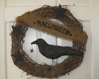 Prim Halloween Old Crow Grapevine Wreath with Burlap Banner -  Ready to Ship