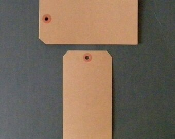 "100 Extra Large Kraft Tags, Parcel Tags, Hang Tags, Kraft Reinforced Holes, Shipping Tag, Gift wrapping, Shipping Tag, 6 1/4"" x 3 1/8"""
