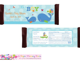 Ahoy It's A Boy Whale Candy Wrapper - DIY Printable