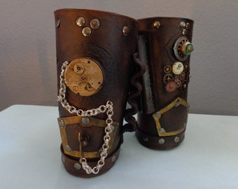 "Leather Cuff by Artrix Leather and Fine art - Pair of Steampunk ""Cowboy"" Style Cuffs"