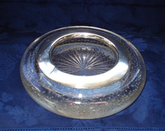 Sterling and Controlled Bubble Glass Ashtray, Hair Receptacle or Bowl