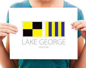 Lake George - New York - Nautical Flag Art Print - 8x10 or 11x14