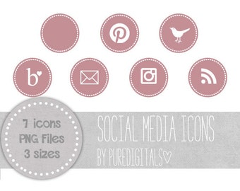 Purple Blog Buttons, Purple Social Media Icons, Cute Social Media Buttons, Purple Blog Icons, Website Icons