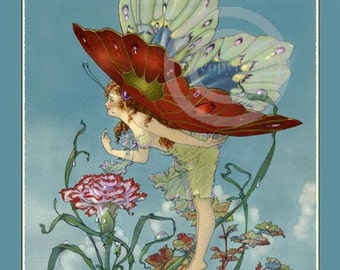 Beautiful Bubble Fairy Print, by Harold Gaze, Rare Butterfly girl, standing on Bubbles, Flowers, Fantasy, 1920s, Giclee Fine Art Print 11x14