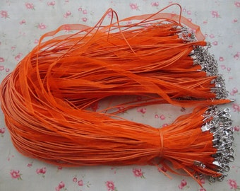 """set of 100--17""""-19"""" orange color ribbon cord necklace with lobster clasp--ribbon necklace cord--MN3113-100"""