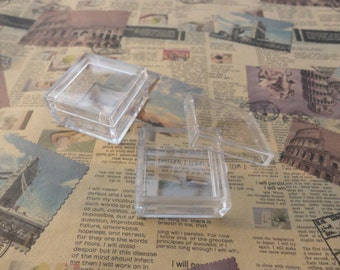 set of 100--mini clear plastic box--square plastic box--plastic jewelry box--35x35x17mm--OC3028-100