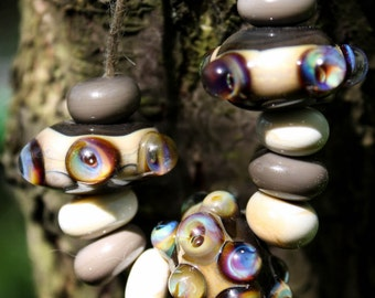 Poked dots lampwork bead set