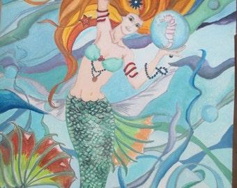 Sandra the Mermaid Fantasy Watercolor Painting. Sandra is in the ocean admiring her friend the Seahorse.