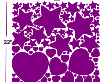 Stars And Hearts Wall Decals sticker nursery art baby room decor craft scrapbooking  DA03