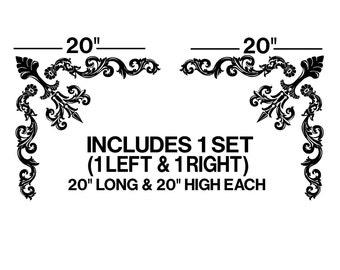 "20"" // Corner // Ornaments // Vinyl // Wall // Decal // sticker // window // art // room decor // graphics// flower// swirls //  GA14.20.2"