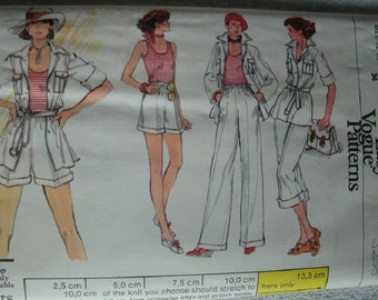 Misses Jacket, Top, Pants and Shorts Size 12 Bust 34 Very Easy Very Vogue Pattern 9510 Vintage 1970's