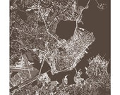 Portland Maine Cityscape Art / Aerial Map City Wall Art / 8x10 Digital Print / Choose your Color