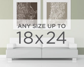 "18x24"" Cityscape Map Poster: Choose your City"