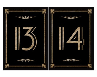 DIY Printable Table numbers for your Great Gatsby-Roaring 20's wedding - #13-24 black with gold sparkle-5x7 size - instant download