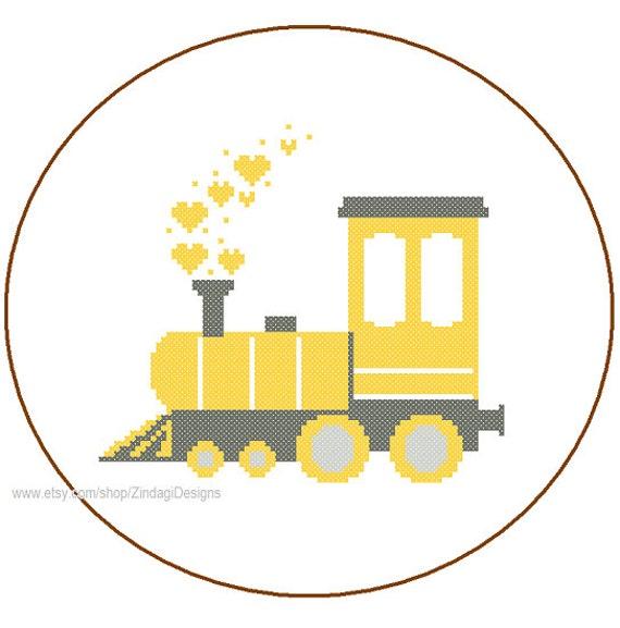 Instant Download Train Engine Cute Cross Stitch Pattern 3