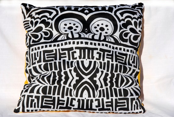 Black Tribal Throw Pillow : Throw Pillow Black and White Tribal Print 19x19 by ...
