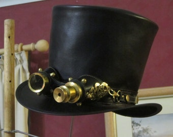 Australian hand crafted black leather mens' Steampunk / gothic TOP HAT with aviator goggles & cogs / wheels brass decoration vintage style