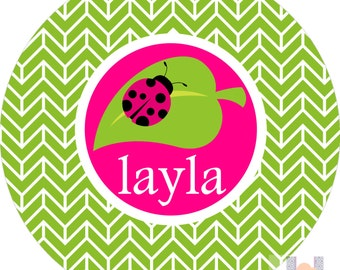 Personalized girls lady bug hot pink & green plate! A custom, fun and UNIQUE gift idea! Kids love eating on plates with their names on them
