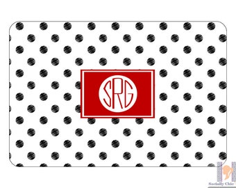 Black & white dot monogrammed tray. A unique and stylish hostess or birthday gift! Entertain with style! Choose your accent color! Gift idea